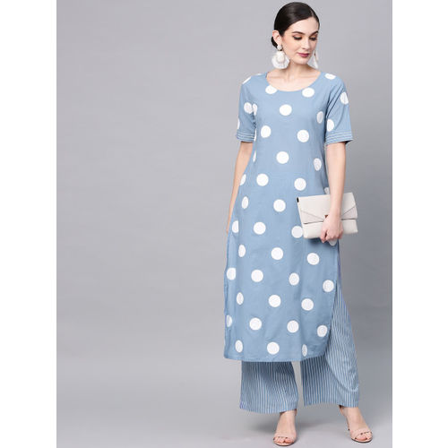 AKS Women Blue & White Printed Kurta with Palazzos