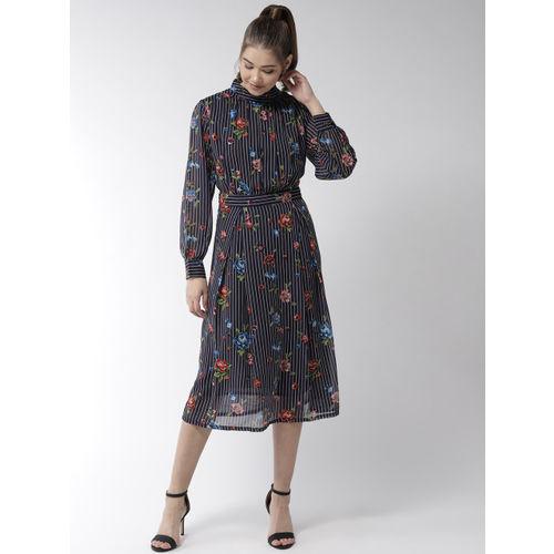 StyleStone Navy Blue & White Printed A-line Dress