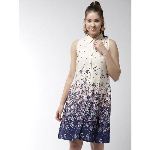 StyleStone Women Cream-Coloured & Navy Blue Printed Shirt Dress