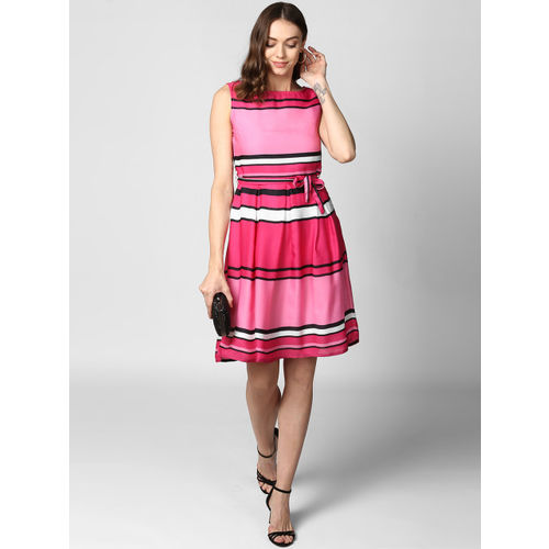 StyleStone Women Pink Striped Fit and Flare Dress