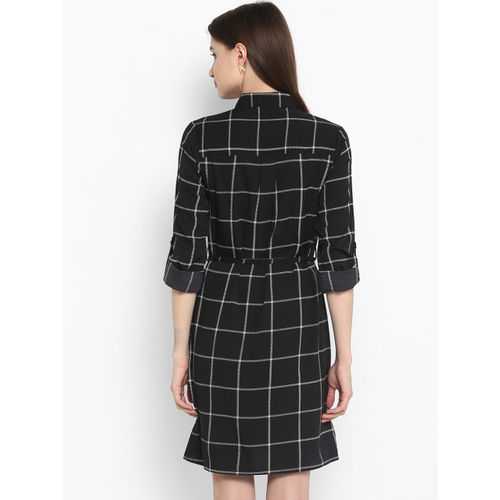 StyleStone Women Black Checked Shirt Dress