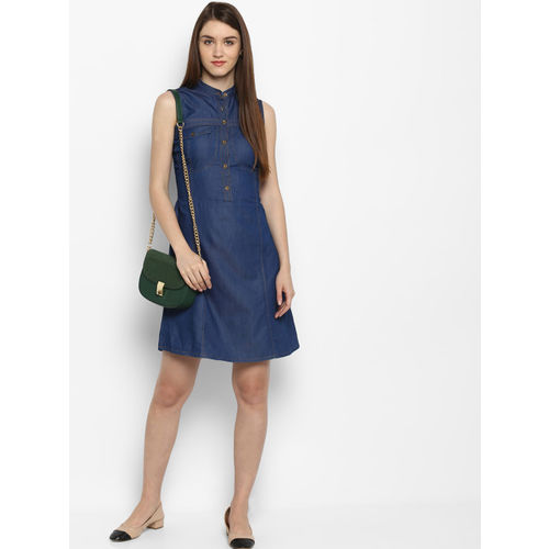 StyleStone Women Blue Solid Fit and Flare Dress