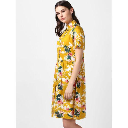 StyleStone Women Mustard Printed Shirt Dress
