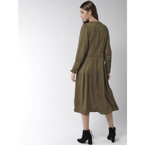 StyleStone Women Olive Green Solid A-Line Dress