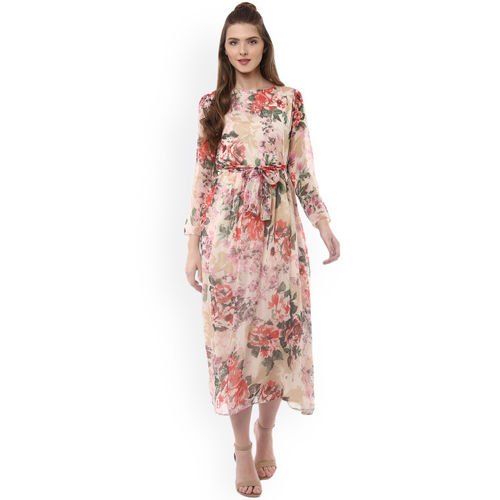 StyleStone Women Beige Printed Fit and Flare Dress