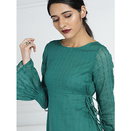 all about you Women Teal & Cream-Coloured Cotton Dobby Kurta with Palazzos