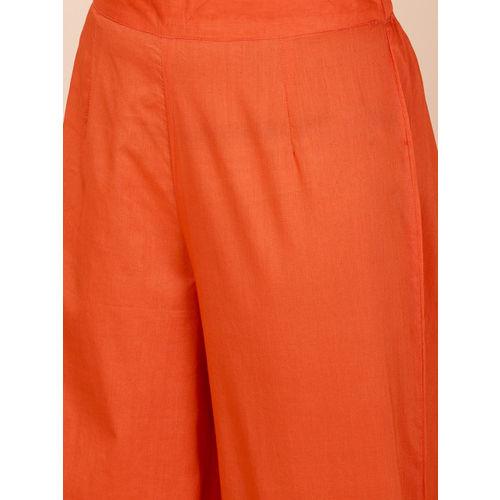 all about you Women Orange Printed Kurta with Palazzos