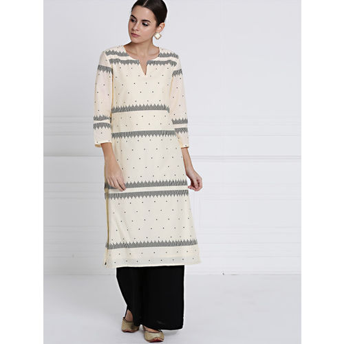 all about you Women Beige & Black Printed Kurta with Palazzos