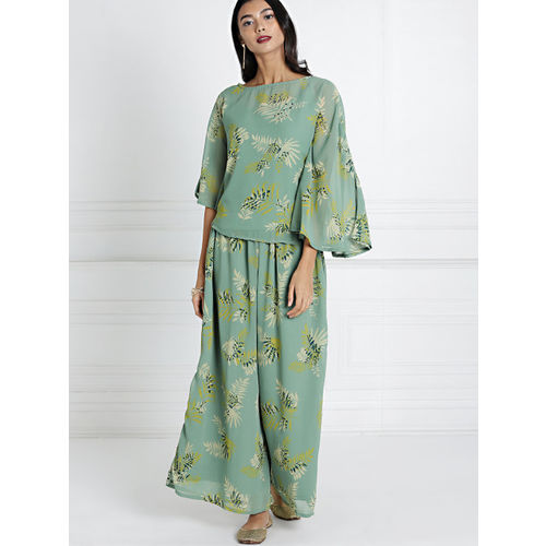 all about you Women Green Printed Kurti with Palazzos