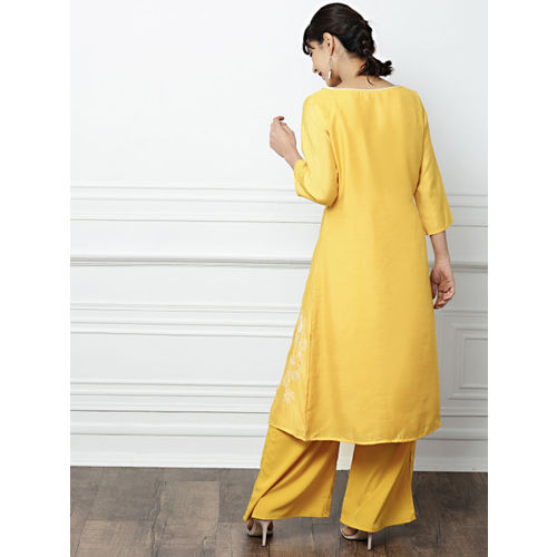 all about you Women Mustard Yellow Chanderi Cotton Embroidered Kurta with Palazzos