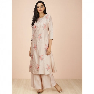 all about you Women Beige Embroidered Kurta with Palazzos