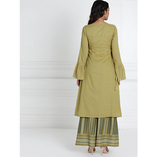 all about you Women Olive Green Cotton Dobby Kurta with Palazzos