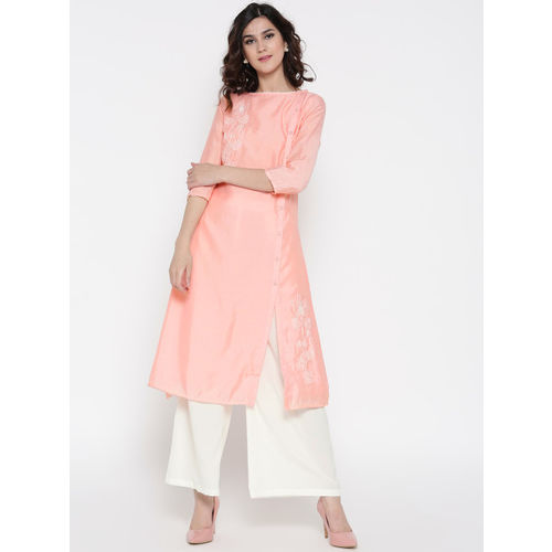 all about you Women Pink & Off-White Solid Kurta with Palazzos