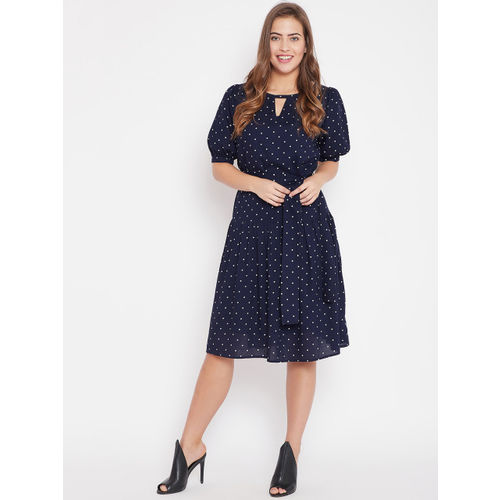 Femella Women Navy Blue Printed Fit and Flare Dress