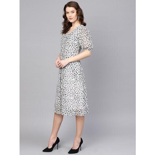 Femella Women White & Black Leopard Print A-Line Dress