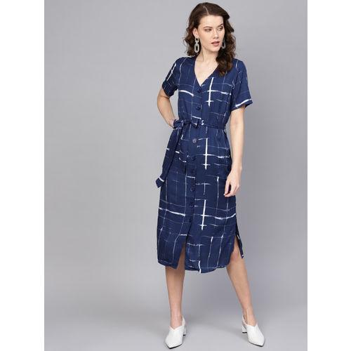 Femella Navy Blue & White Checked A-Line Dress