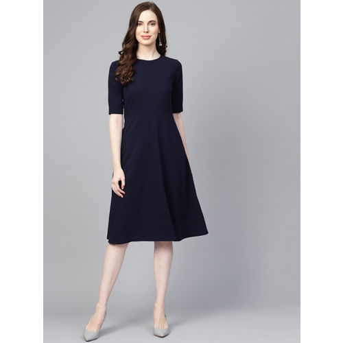 Femella Women Navy Blue Solid Fit & Flare Dress
