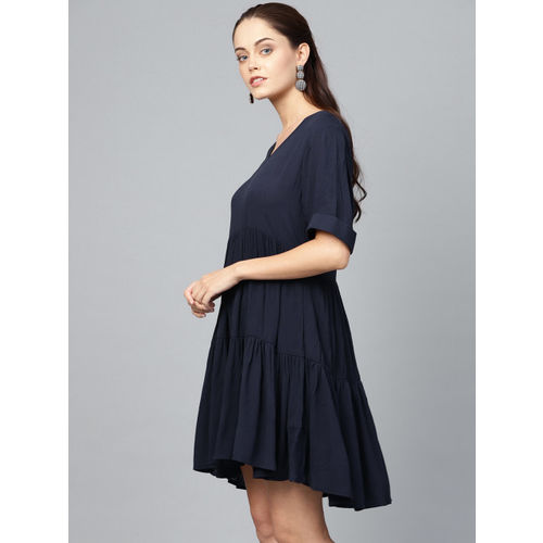 Femella Women Navy Blue Solid Tiered A-Line Dress