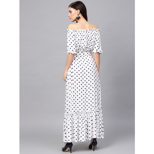 Femella Women White & Navy Blue Printed Maxi Dress