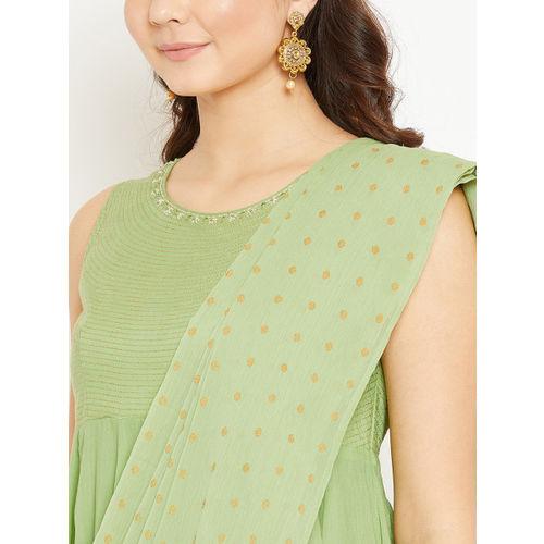 Biba Women Sea Green & Embroidered Kurta with Palazzos & Dupatta