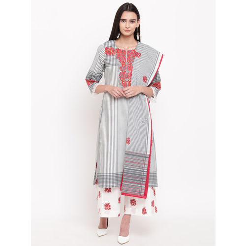 Biba Women Grey & White Printed Kurta with Palazzos & Dupatta