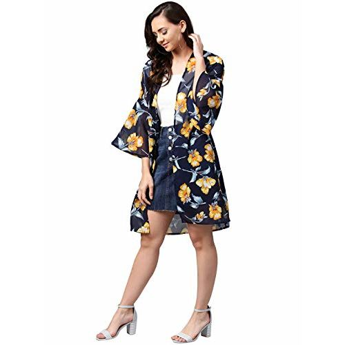 FEMELLA Women's Navy Printed Coverup