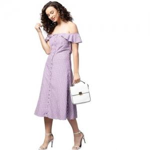 Femella Purple Cotton Checkered Shirt Dress