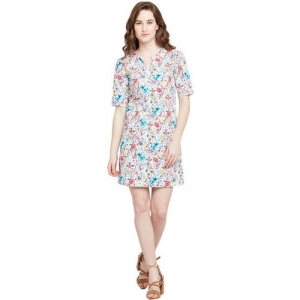 FEMELLA Women's White Printed Notch Shift Dress