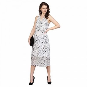 Femella Women's Splatter Polka Surplice Neck Midi Dress