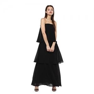 FEMELLA Fashion's Black Strapless Tiered Maxi Dress