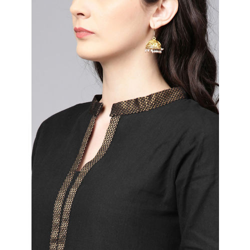 Bhama Couture Women Black Solid Kurta with Palazzos