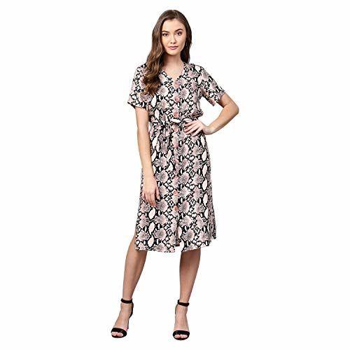 Femella Women's Blush Snake Print Button Down Dress