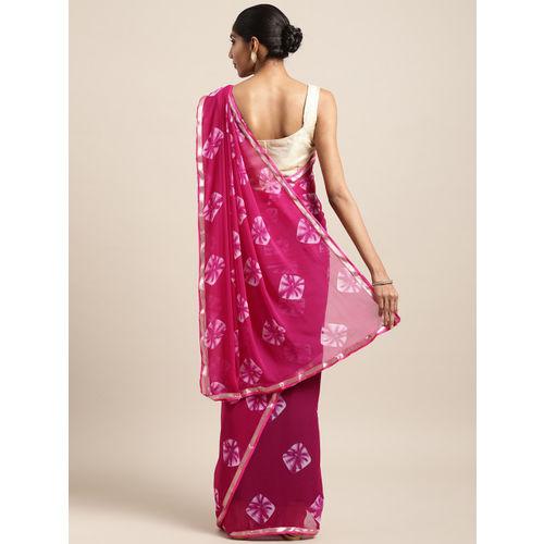 Satrani Pink Poly Chiffon Printed Bandhani Saree