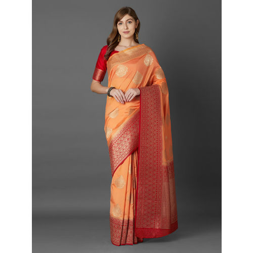 Mitera Peach-Coloured & Red Silk Blend Woven Design Banarasi Saree