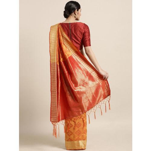 Aradhya Mustard Yellow Silk Blend Woven Design Banarasi Saree