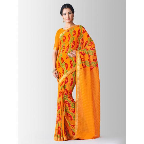 MIMOSA Orange Chiffon Paisley Printed Banarasi Saree