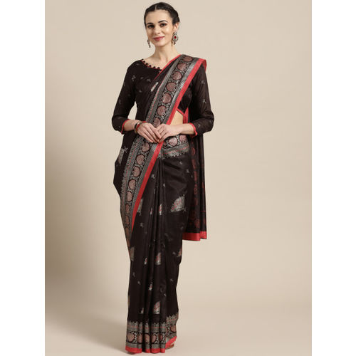 Saree mall Brown & Golden Printed Banarasi Saree