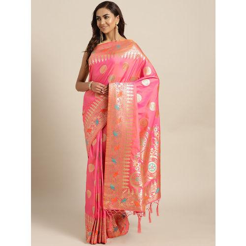 Chhabra 555 Pink & Golden Handloom Woven Design Banarasi Saree