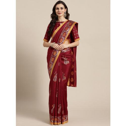 Saree mall Maroon & Golden Printed Banarasi Saree