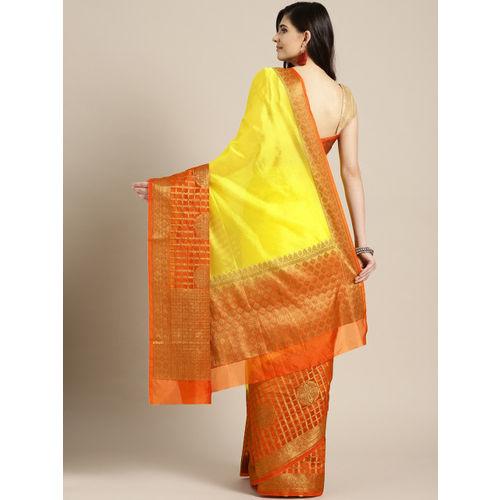 Banarasi Style Yellow & Orange Woven Design Banarasi Saree