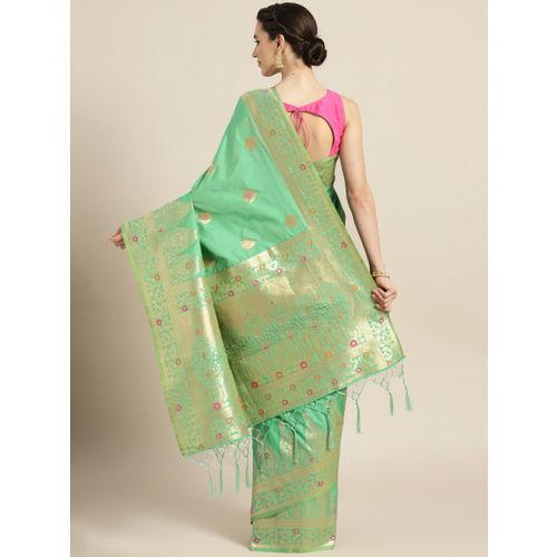 Chhabra 555 Green & Golden Woven Design Banarasi Saree