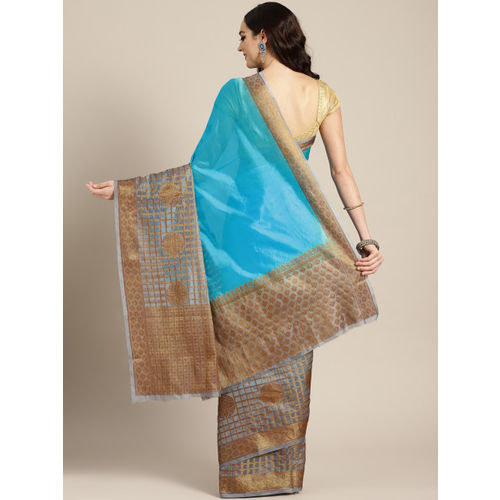 Banarasi Style Blue & Grey Silk Blend Solid Banarasi Saree