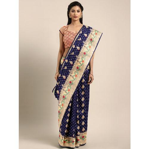 Saree Swarg Navy Blue & Gold-Coloured Art Silk Woven Design Banarasi Saree