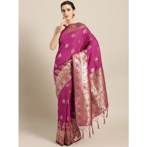 Chhabra 555 Magenta & Golden Woven Design Banarasi Saree