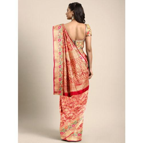 Saree Swarg Peach-Coloured & Gold-Toned Art Silk Woven Design Banarasi Saree