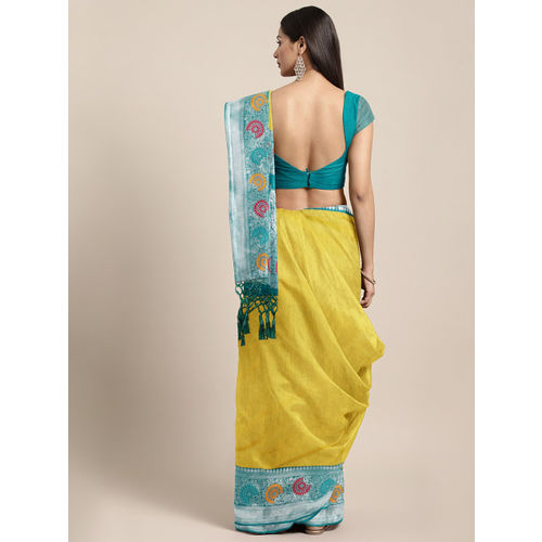 Varkala Silk Sarees Yellow & Teal Blue Silk Cotton Solid Banarasi Saree