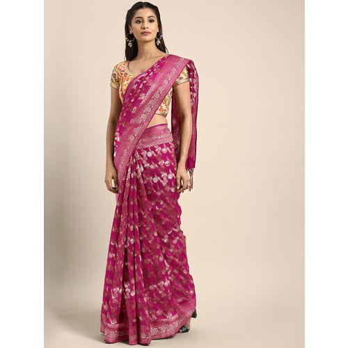 Aradhya Pink Art Silk Blend Woven Design Banarasi Saree