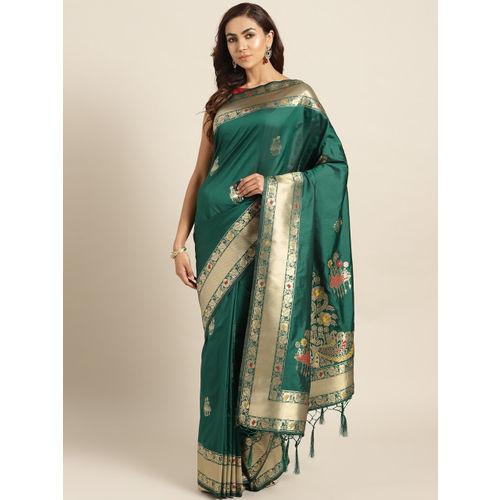 Chhabra 555 Green & Golden Handloom Woven Design Banarasi Saree