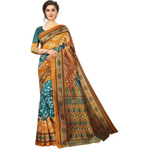 Tripot Designer Printed, Embellished Bandhani Art Silk Saree(Orange)