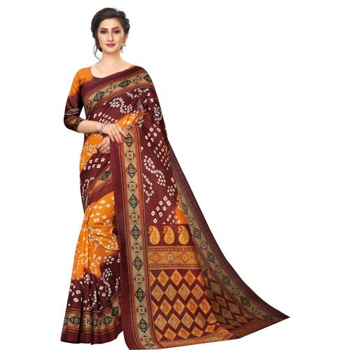 Tripot Designer Printed, Embellished Bandhani Art Silk Saree(Brown)